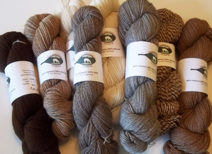 alpaca yarn in natural colors from Snowshoe Farm